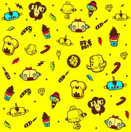 黄色卡通小人网页背景