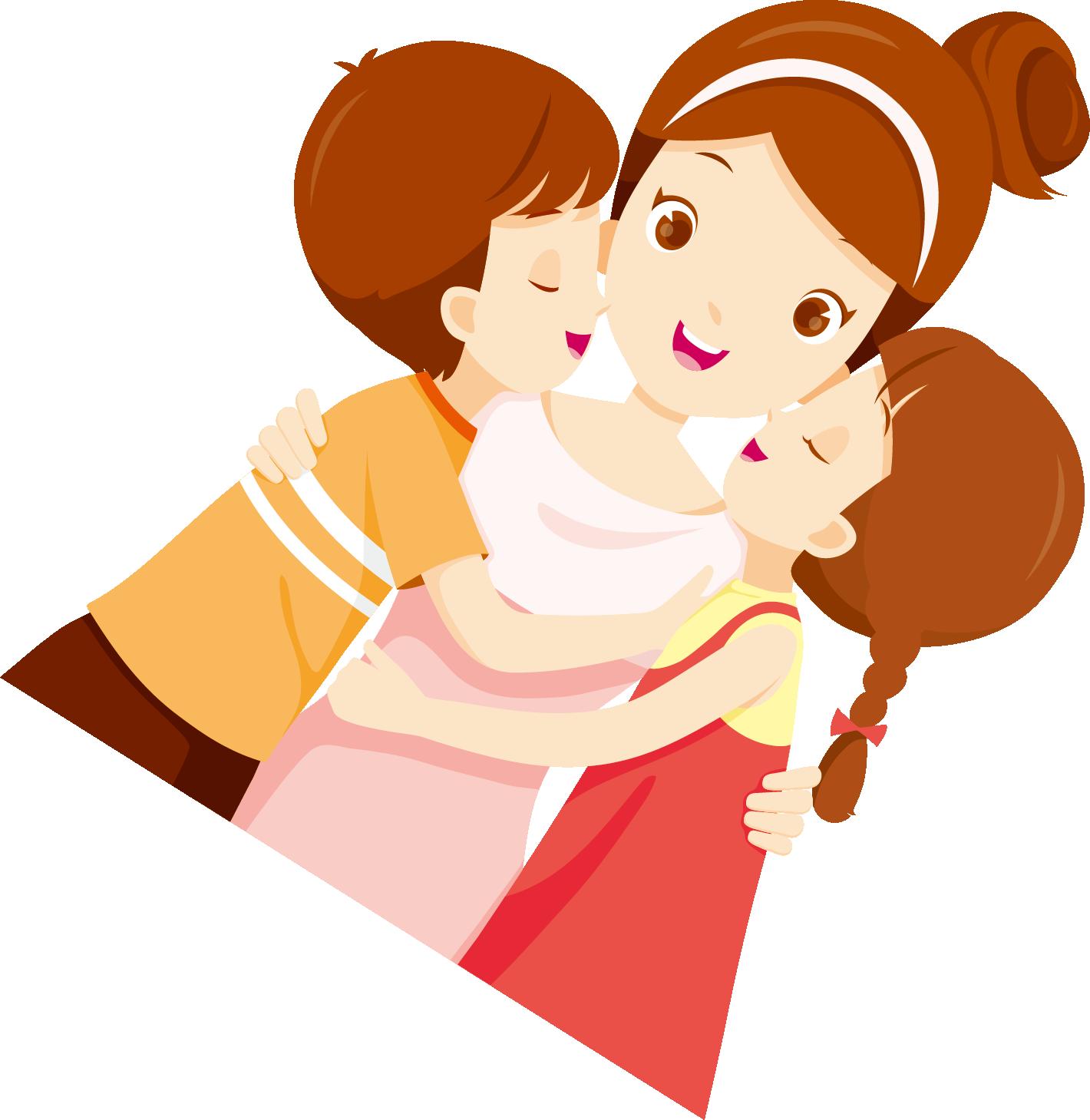 妈妈卡通_母亲节吻妈妈卡通人物_png素材-图趣网(Tuquu)