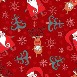 創意圣誕老人和圣誕樹無縫背景矢量圖